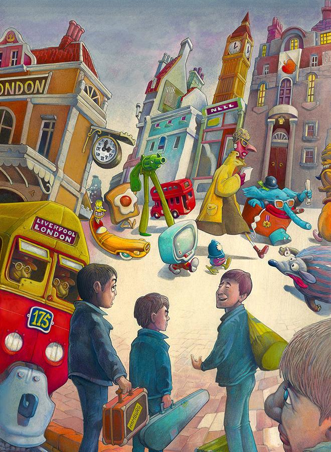 """6) """"La Grande Città"""" - Beatles I  cm. 25x33,5"""