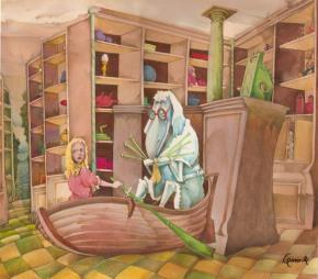 """Alice """"Attraverso lo Specchio"""" capitolo """"Lana e Acqua"""", per la mostra """"DOCTOR PENCIL & MR. CHINA"""" Galleria Comunale d'Arte Moderna, Bologna. 10/11/85-31/1/86"""