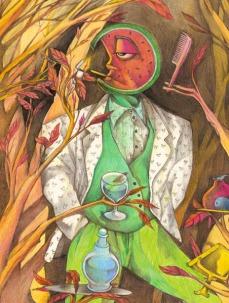 "illustrazione per ""Per Lui"". ed. Vogue 1985 pastelli a cera, ecoline, caran d'ache"