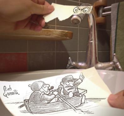#INKtober DAY #14: Sink Ness #disegniGrassilli #decreasedreality #realtàdiminuita #sinks #lochness #lochnessmonster