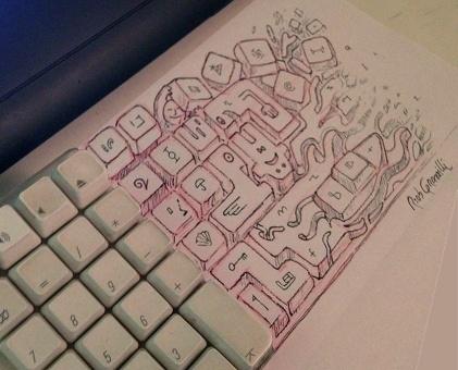 #INKtober DAY #1: diversamente tastiera #keyboard