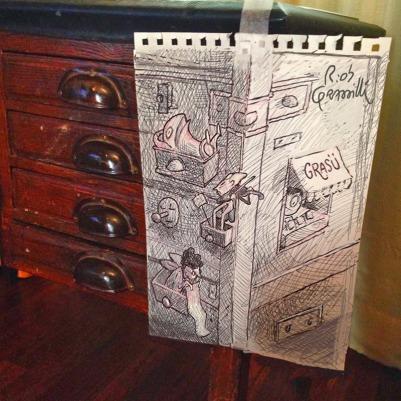 #INKtober day #5: cassetti / drawers #disegniGrassilli #decreasedreality #realtàdiminuita #drawers #disegni