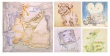 """Animali Elettrodomestici: illustrazioni fatte mi pare nel 1981 ma finite su """"Linus"""" nel 1986 (nr.251, febbraio). Decoravano un articolo di Marina Terragni intitolato """"Angosce: i Mostri Domestici"""". Pastelli Caran D'Ache."""